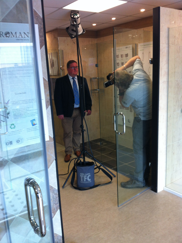 David Osborne being photographed in our trade showroom