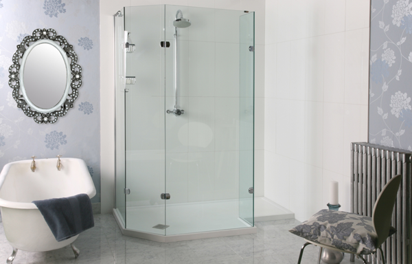 Sculptures Freestanding Angled Walk-in Shower Enclosure