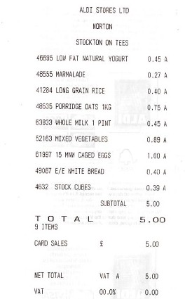 Andy's £5 receipt for this week's food
