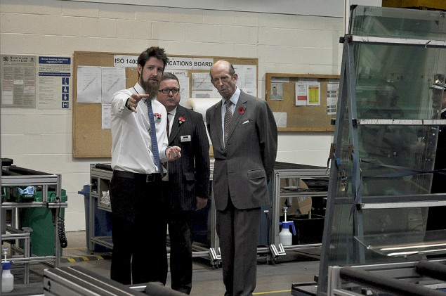 Alex Crawley, Manufacturing Manager with HRH The Duke of Kent