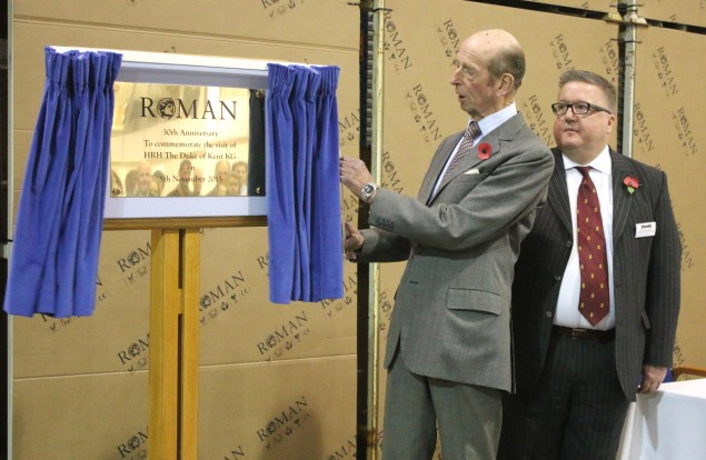 HRH The Duke of Kent unveiling Roman's 30th Anniversary Plaque