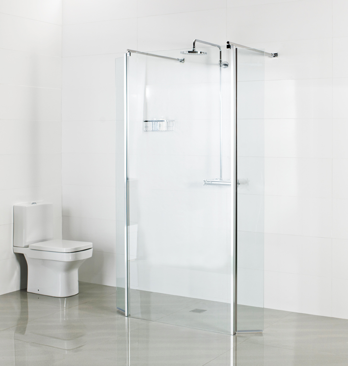Finished Wetroom – Linear Wetroom Panel with two Deflector Panels