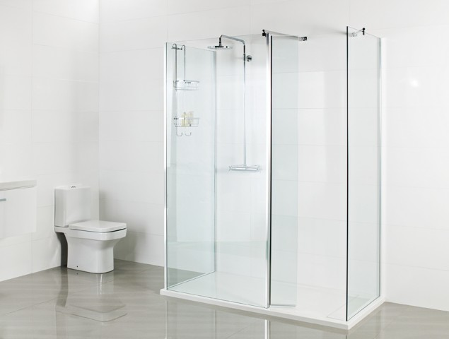 Finished Wetroom – Two Corner Panels with Pivoting Deflector Panel