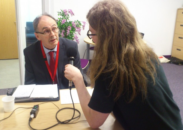 John Wright, Operations Director being interviewed by a local radio station