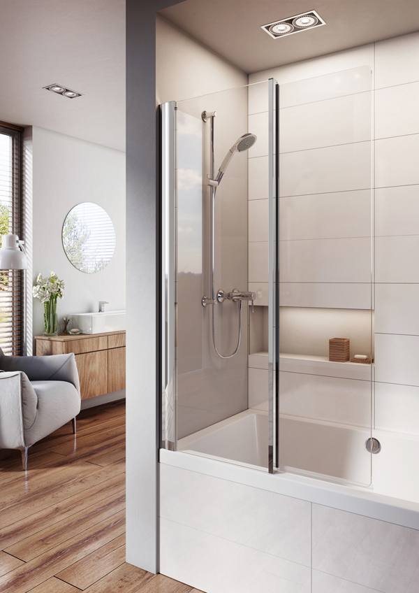 Lumin8 Inward Folding Bath Screen