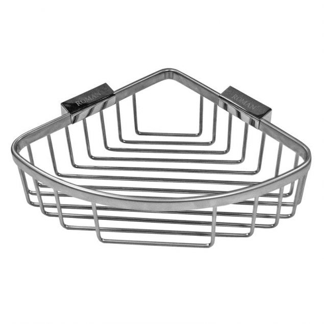 Roman Large Curved Chrome Shower Basket