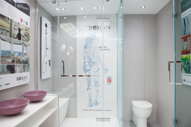 Solid Surface capabilities were demonstrated with shower trays, walls, vanity tops and basins – providing structure for the whole bathroom
