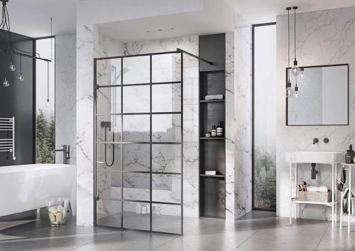 Liber8 Black Grid Design Wetroom Panel