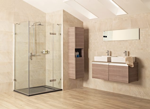 Shower Enclosures from our Liber8 Collection, showcasing our shower baskets