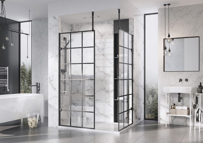 Black Grid Design Wetroom Panel
